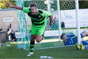 Parkin celebrating one of his many goals this past season. Courtesy of Scunthorpe Telegraph