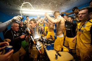 Barrow AFC celebrate winning Vanarama Conference North.